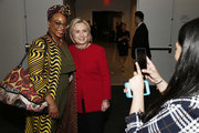 Hillary Clinton (R) attends the TIME 100 Summit 2019 on April 23, 2019 in New York City.