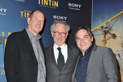 (L-R) Rob Moore, Steven Spielberg and Adam Goodman attends 'TINTIN: The Secret Of The Unicorn' World Premiere at Le Grand Rex on October 22, 2011 in Paris, France.