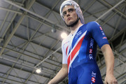 Steven Burke of Great Britain walks to the track before the Mens Final Pursuit  during the TISSOT UCI Track Cycling World Cup at National Cycling Centre at National Cycling Centre on November 11, 2017 in Manchester, England.