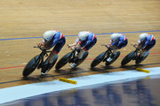 Steven Burke, Edward Clancy, Oliver Wood and Kian Emadi of Great Britain compete in the Mens Final Pursuit  during the TISSOT UCI Track Cycling World Cup at National Cycling Centre at National Cycling Centre on November 11, 2017 in Manchester, England.