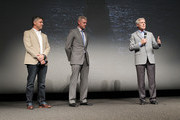 (L-R) Executive producer Steven Kane,  actor Eric Dane and the Secretary of the Navy Ray Mabus speak at the TNT 'The Last Ship' Washington D.C. Screening at The Newseum on June 12, 2015 in Washington, DC.