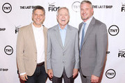 Executive producer Steven Kane (L) and actor Eric Dane (R) pose for a photo with the Secretary of the Navy Ray Mabus at the TNT 'The Last Ship' Washington D.C. Screening at The Newseum on June 12, 2015 in Washington, DC.