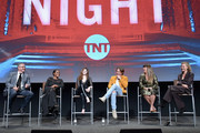 """(L-R) Sam Sheridan, Golden Brooks, India Eisley, Chris Pine, Patty Jenkins and Connie Nielsen speak onstage at TNT's """"I Am The Night"""" FYC Event on May 9, 2019 in North Hollywood, California."""
