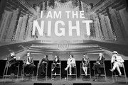 """Image has been shot in black and white. Color version is not available.) (L-R) Ben Travers, Sam Sheridan, Golden Brooks, India Eisley, Chris Pine, Patty Jenkins, Connie Nielsen and Jefferson Mays speak onstage at TNT's """"I Am The Night"""" FYC Event on May 9, 2019 in North Hollywood, California."""