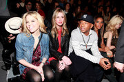 (L-R) Ali Wise, Nicky Hilton, Russell Simmons, Angela Simmons and Sky Ferreira attend the Charlotte Ronson Fall 2012 fashion show for TRESemme during Mercedes-Benz Fashion Week  at Lincoln Center on February 10, 2012 in New York City.