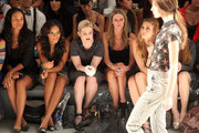 Actress Joy Bryant, Angela Simmons, Kelly Osbourne, designer Nicky Hilton and Whitney Port attend the Charlotte Ronson Spring 2012 fashion show during Mercedes-Benz Fashion Week at The Stage at Lincoln Center on September 10, 2011 in New York City.