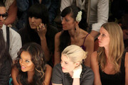 Angela Simmons, Kelly Osbourne and designer Nicky Hilton attend the TRESemme at Charlotte Ronson Spring 2012 show during Mercedes-Benz Fashion Week at The Stage at Lincoln Center on September 10, 2011 in New York City.