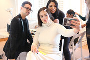 (L-R) Designer Christian Siriano, TRESemme Global Stylist Justine Marjan and Model Ashley Graham are seen backstage for TRESemme at Christian Siriano for NYFW on February 9, 2019 in New York City.