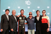 (L-R) Creative Director Guy Bove, Derek Bell, Jean-Eric Vergne, Chad McQueen, Patrick Dempsey and Heritage Director Catherine Eberle-Devaux attend Tag Heuer New Monaco Limited Edition Unveiling Exclusive Event at Domaine de la Groirie on June 14, 2019 in Le Mans, France.
