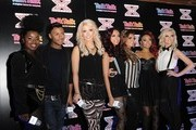Misha B, Marcus Collins, Amelia Lily and Little Mix - X Factor Semi-finalists, ahead of thier performance at Talk Talk Store, Soho on November 30, 2011 in London, England.