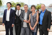 """(Left to Right) Actors Luke Evans, Dominic Cooper director Stephen Frears,actress Tamsin Greig, actor Bill Camp attend the """"Tamara Drew"""" Photocall at the Palais des Festivals during the 63rd Annual Cannes Film Festival on May 18, 2010 in Cannes, France."""