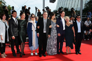 """(Left to Right) Moira Buffini, Dominic Cooper, Tamsin Greig, Anne Rothenstein, Director Stephen Frears, Lola Frears, Luke Evans and guests attend the """"Tamara Drewe"""" Premiere at Palais des Festivals during the 63rd Annual Cannes Film Festival on May 18, 2010 in Cannes, France."""