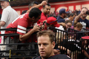 Quarterback Carson Palmer #3 of the Arizona Cardinals walks out to the field before the  NFL game against the Tampa Bay Buccaneers at the University of Phoenix Stadium on October 15, 2017 in Glendale, Arizona. The Cardinals defeated the  Buccaneers 38-33.