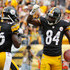 Antonio Brown #84 celebrates his touchdown with Le'Veon Bell #26 of the Pittsburgh Steelers during the first quarter against the Tampa Bay Buccaneers at Heinz Field on September 28, 2014 in Pittsburgh, Pennsylvania.