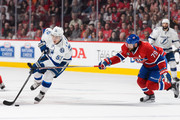 Valtteri Filppula #51 of the Tampa Bay Lightning tries to move the puck past Andrei Markov #79 of the Montreal Canadiens in Game Five of the Eastern Conference Semifinals during the 2015 NHL Stanley Cup Playoffs at the Bell Centre on May 9, 2015 in Montreal, Quebec, Canada. The Canadiens defeated the Lightning 2-1.  The Lightning lead the series 3-2.