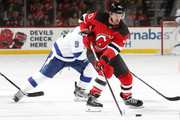 Michael Grabner #40 of the New Jersey Devils controls the puck against the Tampa Bay Lightning during the first period at the Prudential Center on March 24, 2018 in Newark, New Jersey.