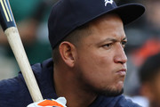 Miguel Cabrera #24 of the Detroit Tigers not playing due to injury takes practice swings in the dugout while playing the Tampa Bay Rays at Comerica Park on May 1, 2018 in Detroit, Michigan.