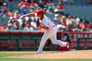 David Hernandez #33 of the Los Angeles Angels pitches in the eighth inning against the Tampa Bay Rays at Angel Stadium of Anaheim on July 16, 2017 in Anaheim, California.