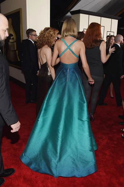 The 57th Annual GRAMMY Awards - Red Carpet [red carpet,gown,dress,red carpet,carpet,flooring,clothing,event,fashion,premiere,shoulder,taylor swift,california,los angeles,staples center,57th annual grammy awards,the 57th annual grammy awards]