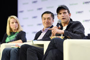 (L-R) Lumi Labs Co-founder Marissa Mayer, Sequoia Partner Capital Alfred Lin and Sound Ventures Co-Founder Ashton Kutcher speak onstage during TechCrunch Disrupt San Francisco 2019 at Moscone Convention Center on October 04, 2019 in San Francisco, California.