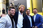 (L-R) Clemente Russo, Massimiliano Rosolino, Davide Cassani and Fabio Cannavaro attend the Technogym Listing Ceremony at Palazzo Mezzanotte on May 3, 2016 in Milan, Italy. Technogym is the world leader in the construction of equipment for gyms, founded in 1983 by Nerio Alessandri, and was quoted today on the Milan Stock Exchange.