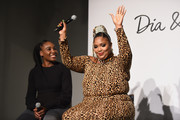 Venus Williams and Lizzo speak onstage during the #TeeUpChange Campaign Launch Hosted By Dia&Co and CFDA at theCURVYcon on September 7, 2018 in New York City.