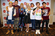 (L-R) Jai Brooks and James Yammouni of The Janoskians, Editor-in-chief of Teen Vogue Amy Astley, host Debby Ryan, Beau Brooks, Daniel Sahyounie, and Luke Brooks of The Janoskians attend Teen Vogue's Back To School Saturdays Kick-Off at Del Amo Fashion Center on August 8, 2014 in Torrance, California.