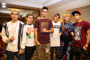 Jai Brooks, Daniel Sahyounie, James Yammouni, Beau Brooks of The Janoskians, Editor-in-chief of Teen Vogue Amy Astley and Luke Brooks of The Janoskians attend Teen Vogue's Back To School Saturdays Kick-Off at Del Amo Fashion Center on August 8, 2014 in Torrance, California.