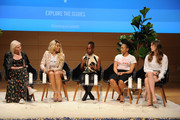 (L-R) Vera Papisova, Munroe Bergdorf, Chirlane McCray, Phoenix Best and Laura Dreyfuss speak onstage during the Teen Vogue Summit 2018: #TurnUp - Day 1 at The New School on June 1, 2018 in New York City.