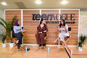 (L-R) Noor Tagouri, Jamie Margolin, and Eva Longoria speak onstage during The Change Agents keynote at The Teen Vogue Summit 2018: Serena Williams and Naomi Wadler at 72andSunny on December 1, 2018 in Los Angeles, California.