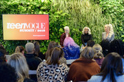 (L-R) Vera Papisova, Jackie Aina, and Gigi Gorgeous speak during the Limitless Beauty keynote at The Teen Vogue Summit 2018: Serena Williams and Naomi Wadler at 72andSunny on December 1, 2018 in Los Angeles, California.