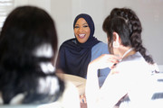 Ibtihaj Muhammad (C) and Lucy Diavolo (R) speak during the Instant Influence: Breaking Storytelling Barriers conversation at The Teen Vogue Summit 2018: Serena Williams and Naomi Wadler at 72andSunny on December 1, 2018 in Los Angeles, California.