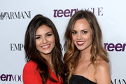 Actresses Victoria Justice (L) and stylist Madison Guest attend Teen Vogue Young Hollywood Party on September 27, 2013 in West Hollywood, California.