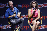 """Linden Ashby and Melissa Ponzio attend the """"Teen Wolf"""" Final Farewell during day 3 of 2016 New York Comic Con at Hammerstein Ballroom on October 8, 2016 in New York City."""