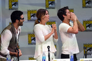 """(L-R) Actors Tyler Hoechlin, Shelley Hennig and Dylan O'Brien attend MTV's """"Teen Wolf"""" panel during Comic-Con International 2014 at the San Diego Convention Center on July 24, 2014 in San Diego, California."""