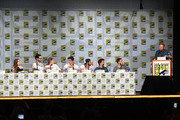 """(L-R) Actors Holland Roden, Tyler Hoechlin, Shelley Hennig, Dylan O'Brien, Tyler Posey, and Dylan Sprayberry, writer/producer Jeff Davis, and moderator Jarett Wieselman attend MTV's """"Teen Wolf"""" panel during Comic-Con International 2014 at the San Diego Convention Center on July 24, 2014 in San Diego, California."""