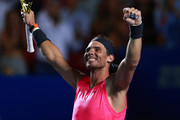 Rafael Nadal of Spain celebrates after winning the final singles match against Taylor Fritz of the United States during Day 6 of the ATP Mexican Open at Princess Mundo Imperial on February 29, 2020 in Acapulco, Mexico.
