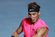 Rafael Nadal of Spain plays a forehand during the singles match against Taylor Fritz of the United States during Day 6 of the ATP Mexican Open at Princess Mundo Imperial on February 29, 2020 in Acapulco, Mexico.