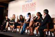 (L-R) Partner at WME Nancy Josephson, Head of Amazon Studios Jennifer Salke, and mentees Paola Franco, Megan Castillo, Vandalena Mahoney, and Executive Editor of The Hollywood Reporter Stephen Galloway speak onstage during Ten Years Of The Hollywood Reporter Women In Entertainment Mentorship, presented by Lifetime, on December 09, 2019 in Los Angeles, California.