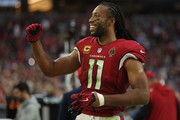 Larry Fitzgerald #11 of the Arizona Cardinals celebrates after the NFL game against the Tennessee Titans at University of Phoenix Stadium on December 10, 2017 in Glendale, Arizona. The Arizona Cardinals won 12 - 7.