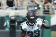 Chris Ivory #33 of the Jacksonville Jaguars runs with the football during the first half of their game against the Tennessee Titans at EverBank Field on September 17, 2017 in Jacksonville, Florida.