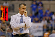 Head coach Billy Donovan of the Florida Gators reacts during the second half of the game against the Tennessee Volunteers at the Stephen C. O'Connell Center on February 28, 2015 in Gainesville, Florida. The win was Billy Donovan's 500th career victory.