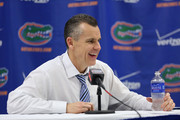 Head coach Billy Donovan of the Florida Gators speaks at a press conference after the game against the Tennessee Volunteers at the Stephen C. O'Connell Center on February 28, 2015 in Gainesville, Florida. The win was Billy Donovan's 500th career victory.