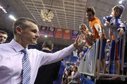 Head coach Billy Donovan of the Florida Gators  reacts after the game against the Tennessee Volunteers at the Stephen C. O'Connell Center on February 28, 2015 in Gainesville, Florida. The win was Billy Donovan's 500th career victory.