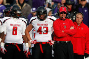 Head coach Tommy Tuberville of the Texas Tech Red Raiders watches from the sidelines during the game against the Kansas State Wildcats at Bill Snyder Family Football Stadium on October 27, 2012 in Manhattan, Kansas.
