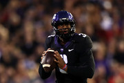 Shawn Robinson #3 of the TCU Horned Frogs throws against the Texas Tech Red Raiders at Amon G. Carter Stadium on October 11, 2018 in Fort Worth, Texas.