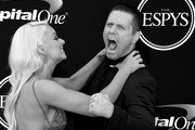 This image has been converted to black and white.)  Pro wrestlers Maryse Ouellet and Michael Mizanin (aka The Miz) attend the 2017 ESPYS at Microsoft Theater on July 12, 2017 in Los Angeles, California.