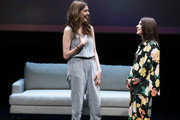 """Jessica Hecht and Aya Cash perform during """"The 24 Hour Musicals"""" at The Irene Diamond Stage, Pershing Square Signature Center on June 17, 2019 in New York City."""