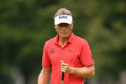 Bernhard Langer of Germany reacts to a putt on the first green during the first round of the Ally Challenge presented by McLaren at Warwick Hills Golf & Country Club on September 14, 2018 in Grand Blanc, Michigan.