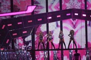 British girl group 'Little Mix', Perrie Edwards, Jesy Nelson, Jade Thirlwall and Leigh-Anne Pinnock perform during the BRIT Awards 2017 ceremony and live show in London on February 22, 2017. / AFP / Justin TALLIS / RESTRICTED TO EDITORIAL USE, TO ILLUSTRATE THE EVENT AS SPECIFIED IN THE CAPTION, NO POSTERS, NO USE IN PUBLICATIONS DEVOTED TO ARTISTS
